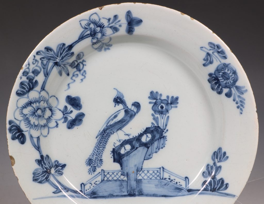 Pair of English Delft Peacock Plates 18thC 2