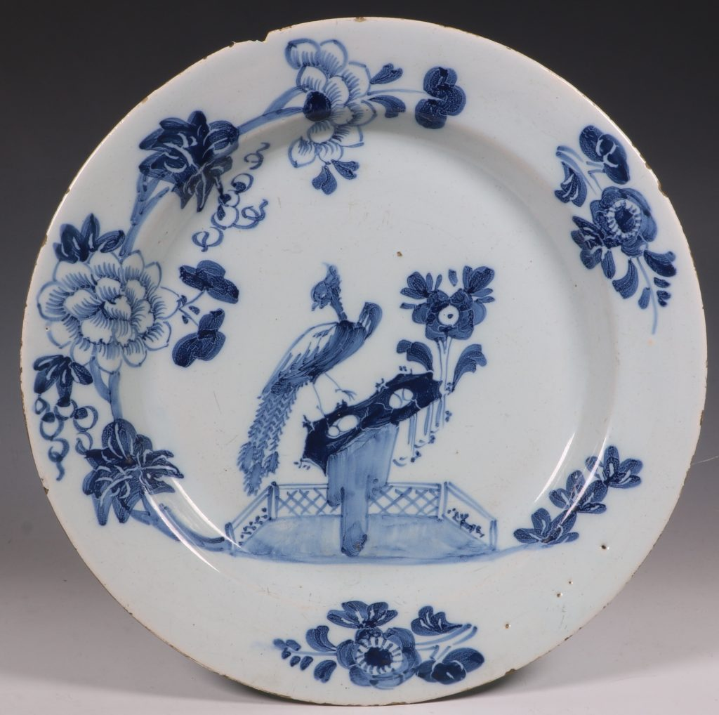 Pair of English Delft Peacock Plates 18thC 4