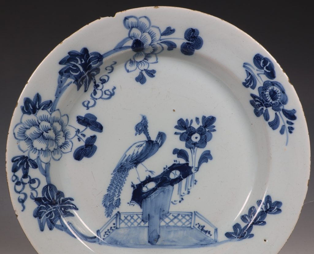 Pair of English Delft Peacock Plates 18thC 5