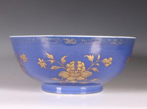 Gilt Decorated Blue Ground Bowl E18thC