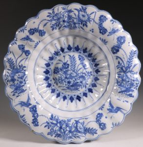 German Faience Lobed Dish Frankfurt or Hanau L17thC
