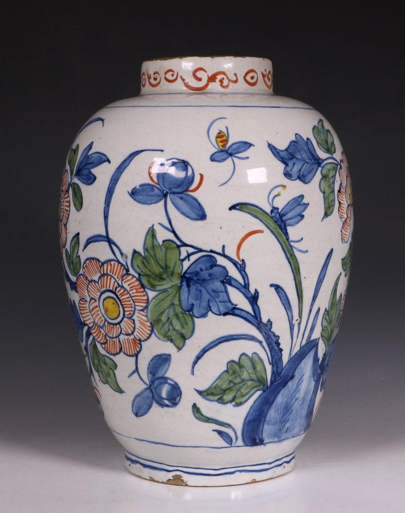 Dutch Delft Polychrome Vase 18thC 2
