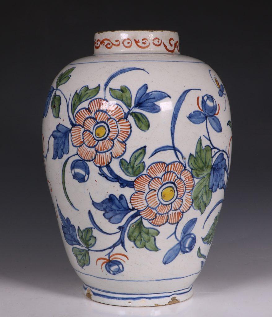 Dutch Delft Polychrome Vase 18thC 3