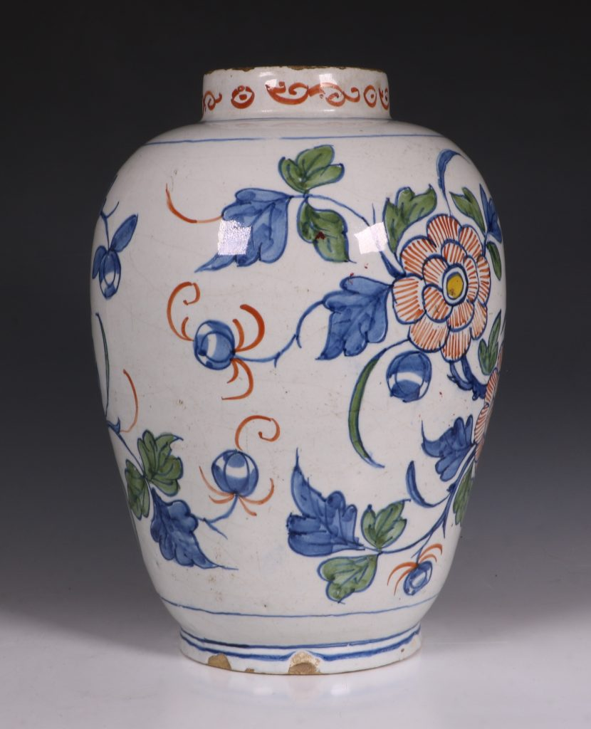 Dutch Delft Polychrome Vase 18thC 4