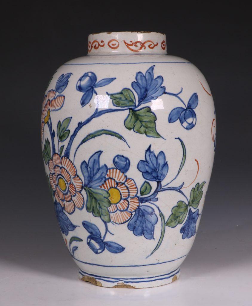 Dutch Delft Polychrome Vase 18thC 6