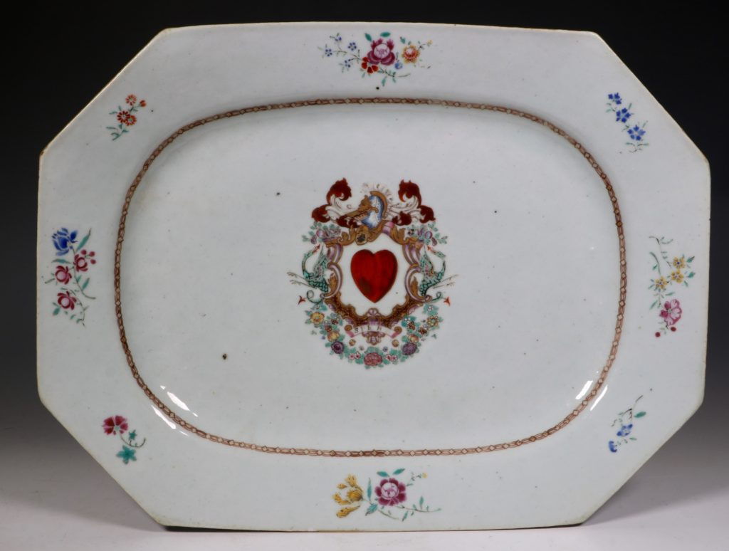 A Pair of Famille Rose Armorial Meat Plates Qianlong C1760 1