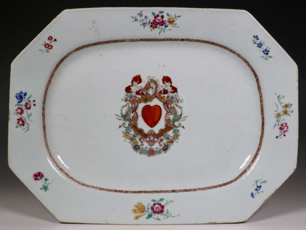 A Pair of Famille Rose Armorial Meat Plates Qianlong C1760 2