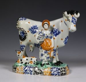 A Prattware Pearlware Cow Group C1810/20
