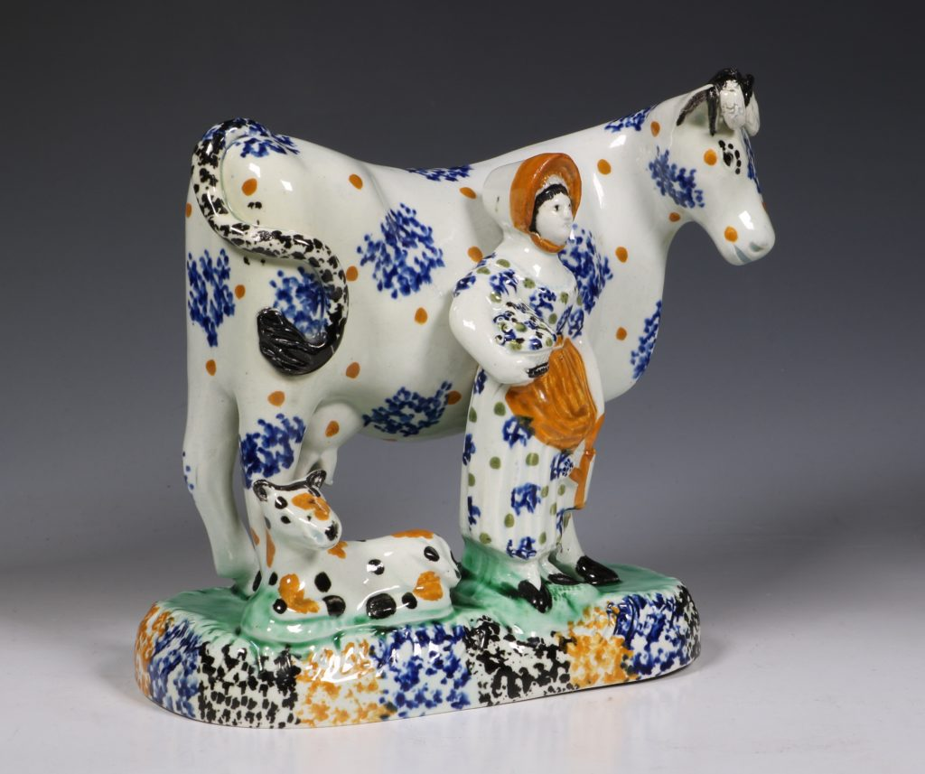 A Prattware Pearlware Cow Group C1810/20 2