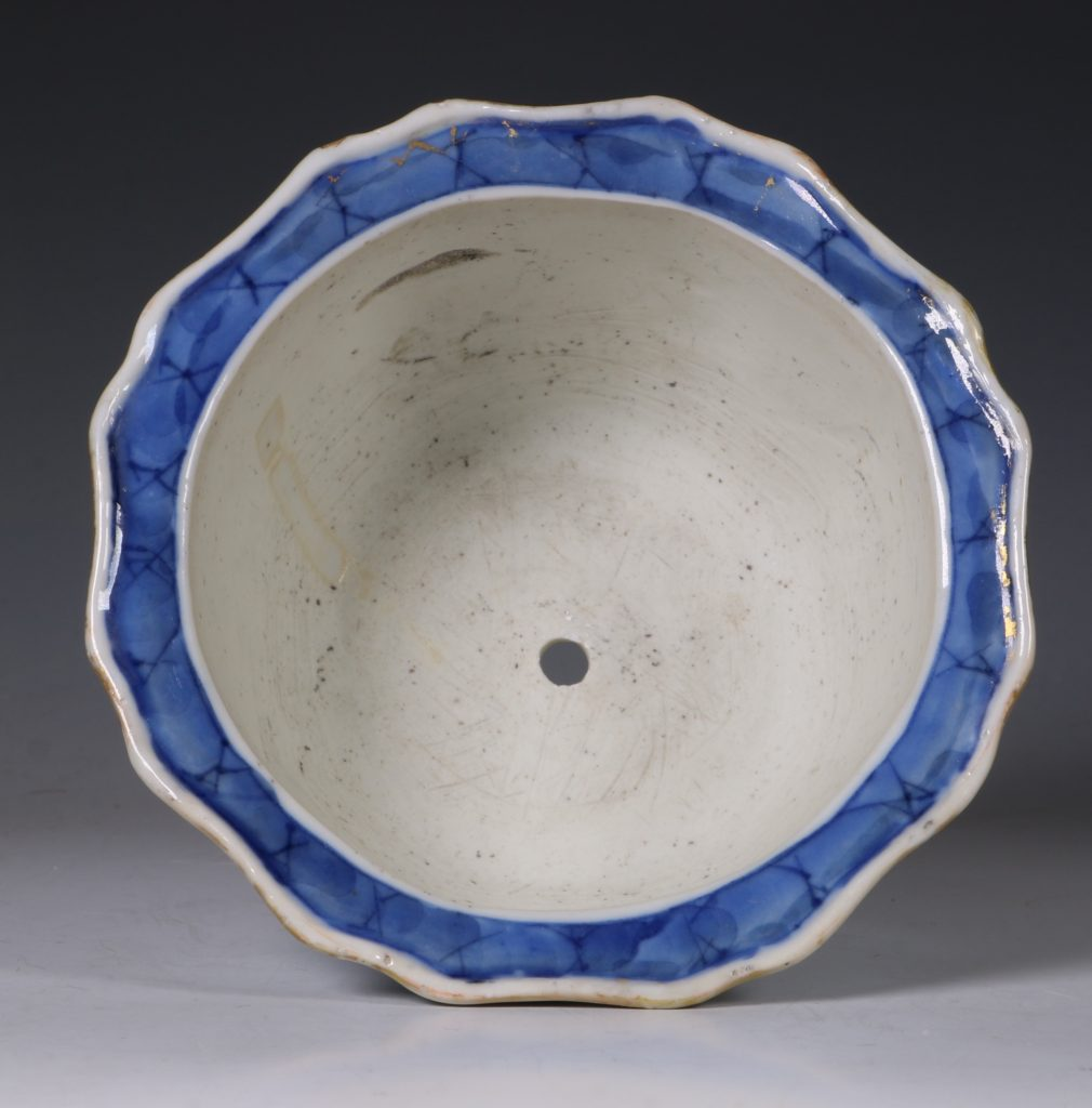 A Small Blue and White Jardiniere and Stand Kangxi C1700 10
