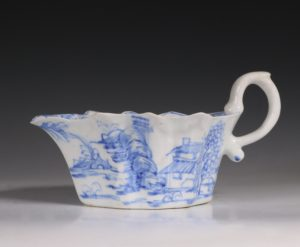 A Bow Blue and White Sauce Boat C1752/55