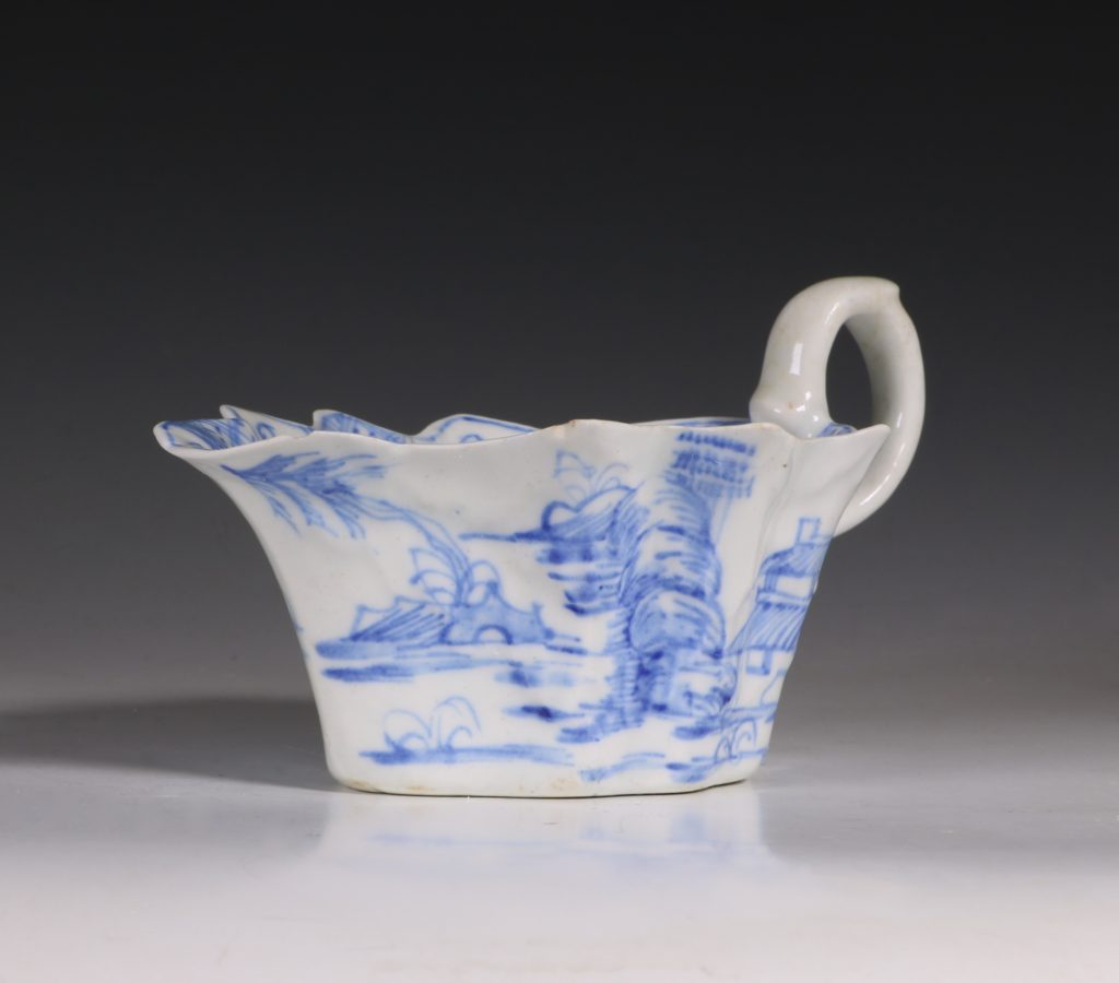 A Bow Blue and White Sauce Boat C1752/55 1