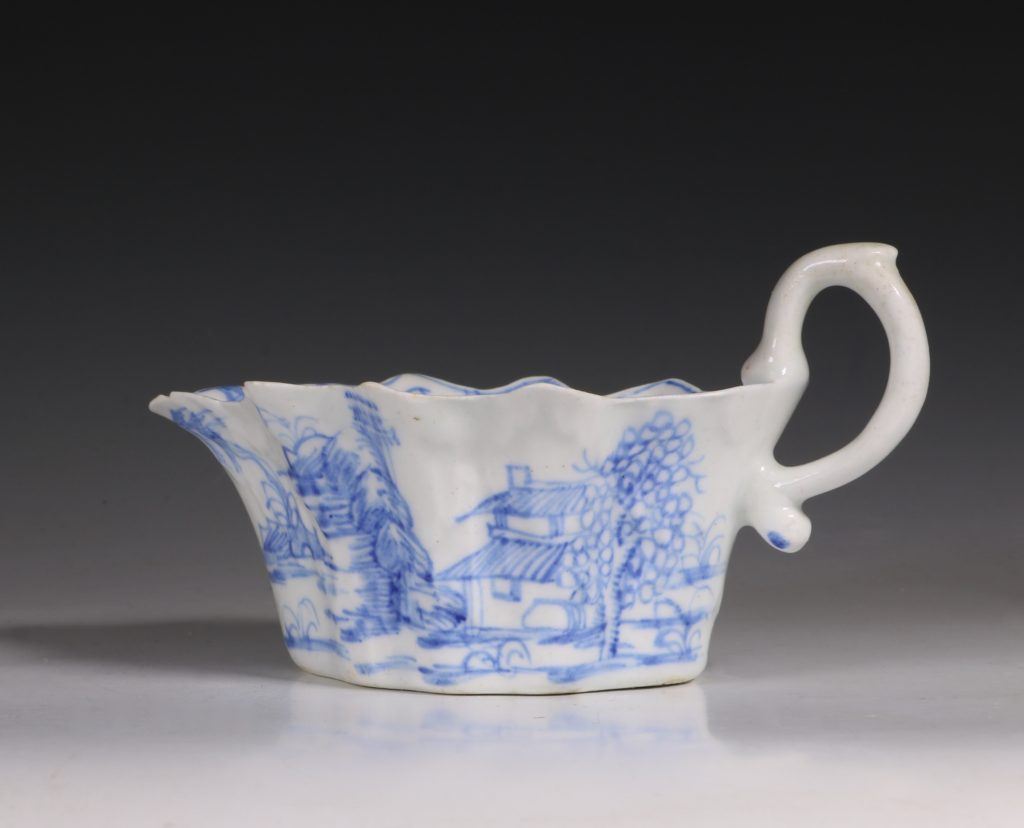 A Bow Blue and White Sauce Boat C1752/55 2