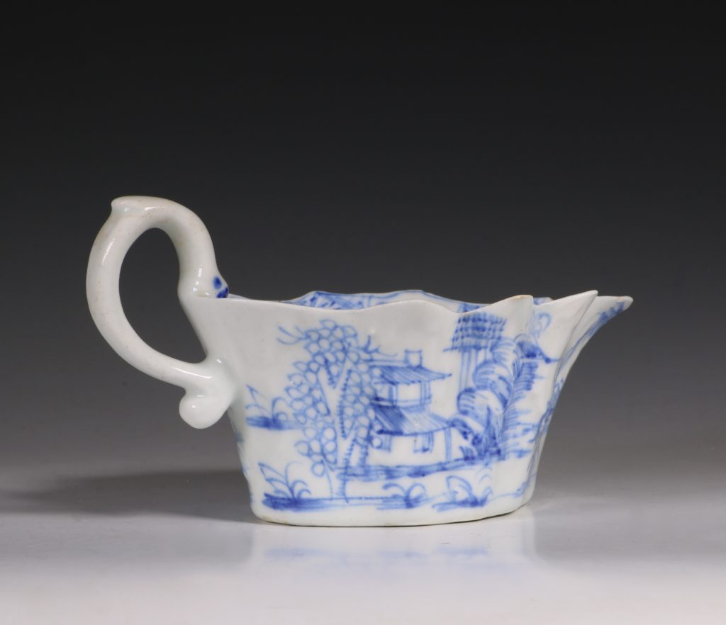 A Bow Blue and White Sauce Boat C1752/55 3