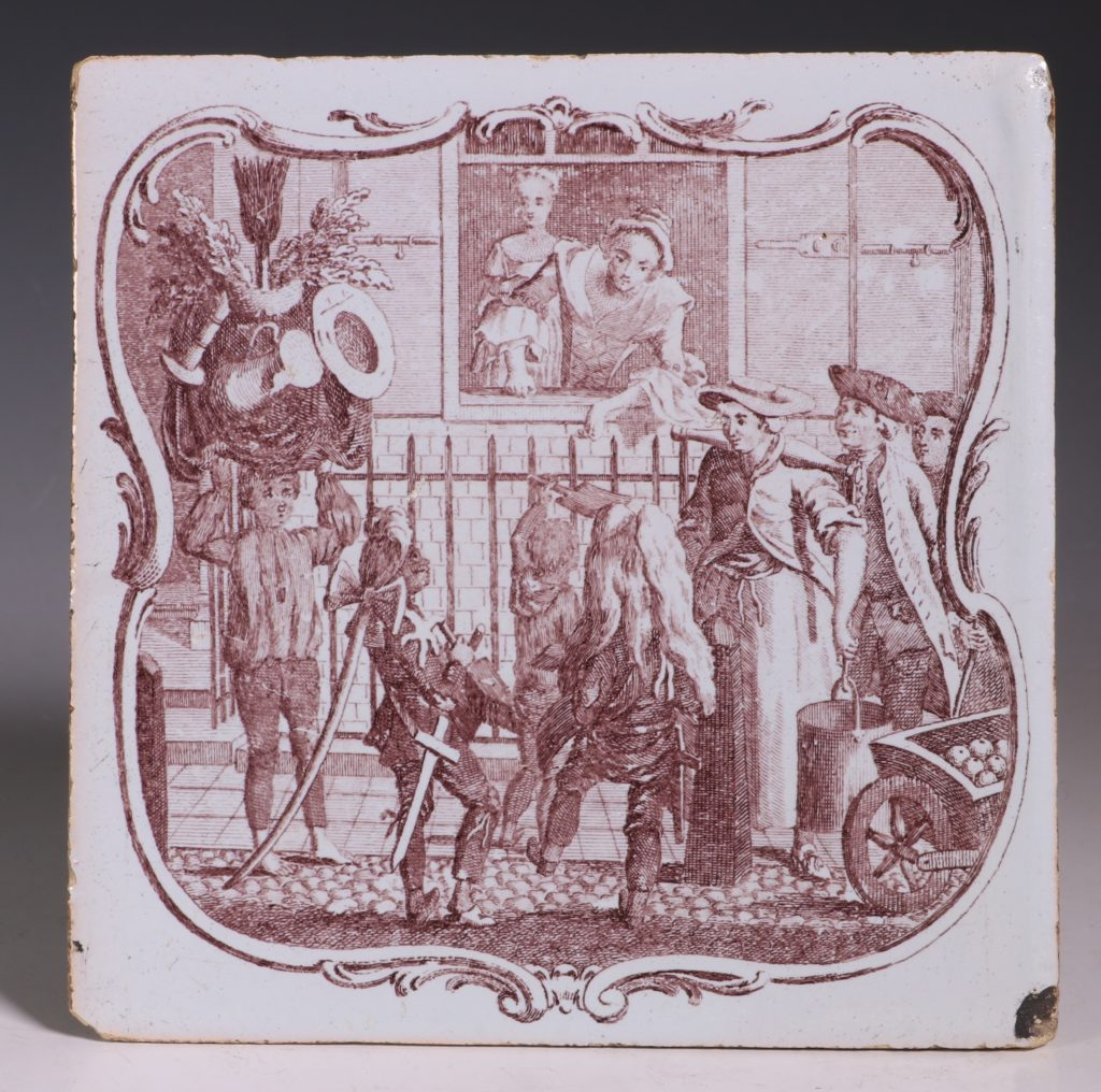 An Early Sadler Printed Delft Tile C1760 1