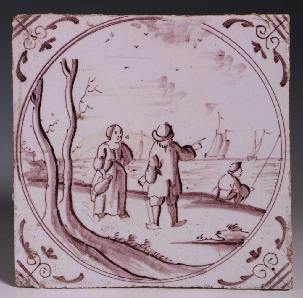 English Manganese Delft Tile C1750