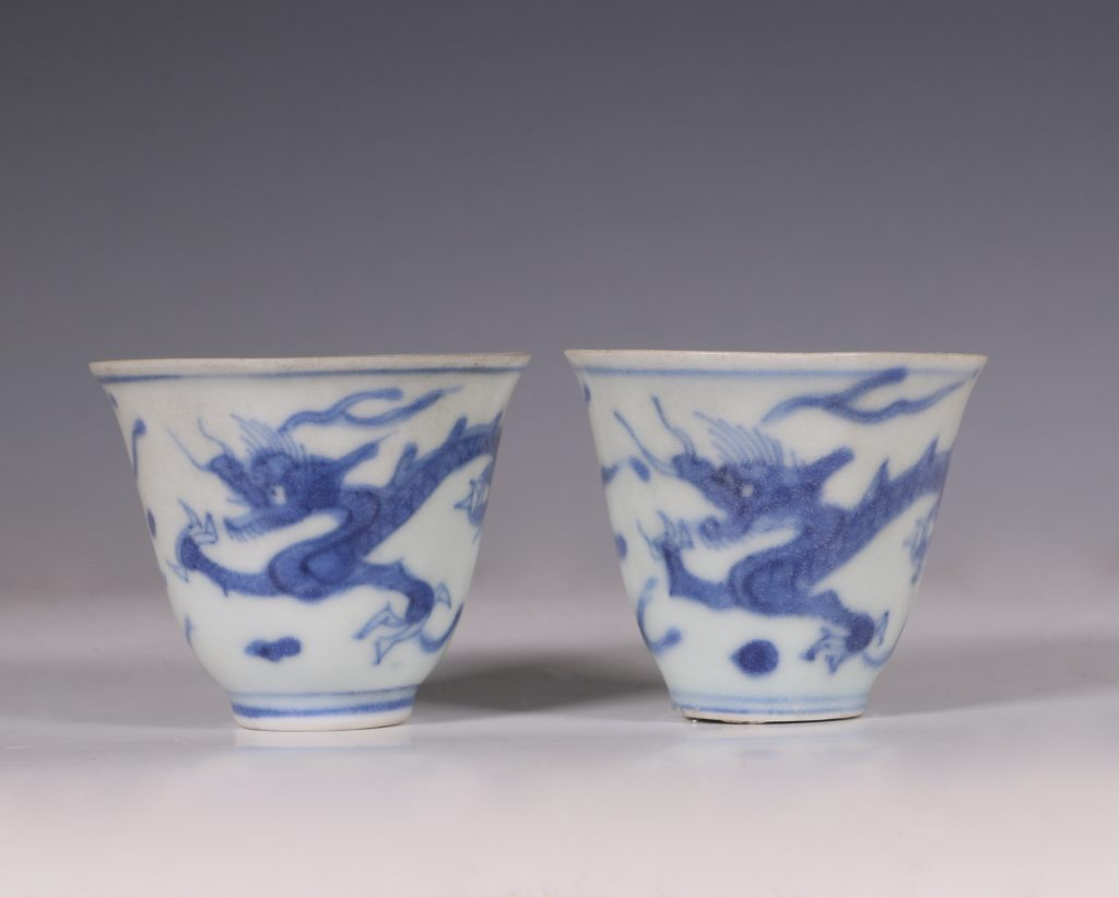 Pair of Blue and White Hatcher Wine Cups Transitional C1643/6