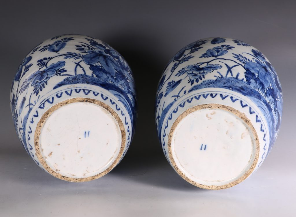 Pair of Dutch Delft Peacock Vases 18thC 6