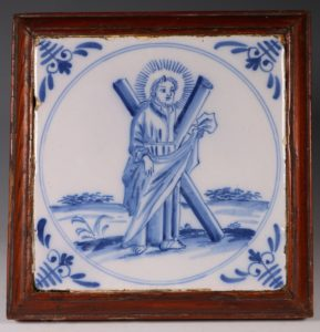 English Delft Tile Christ and the Cross C1760/80