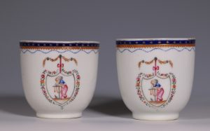 "Pair of Chinese Export American Market 'Hope"" Coffee Cups L18thC"