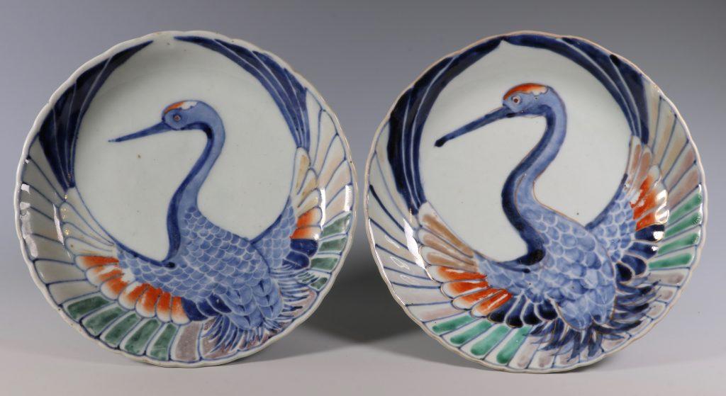 Pair of Japanese Arita Crane Dishes 18thC