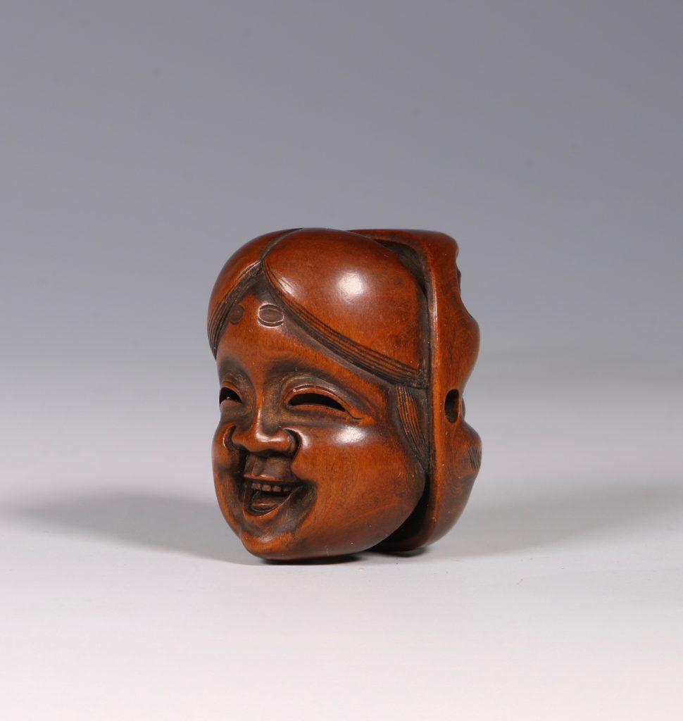 A Boxwood Mask Netsuke 19thC 1