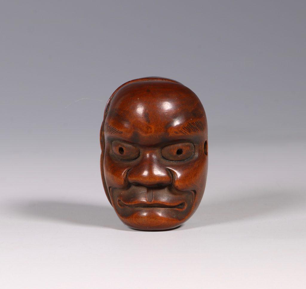A Boxwood Mask Netsuke 19thC 3