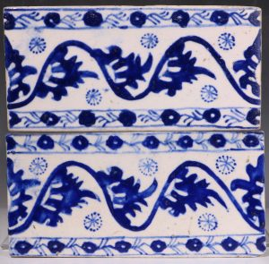 A Pair of Kuthaya Border Tiles Turkey 18thC