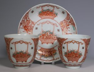 Pair of Dutch Decorated Chinese Beakers and a Saucer 18thC