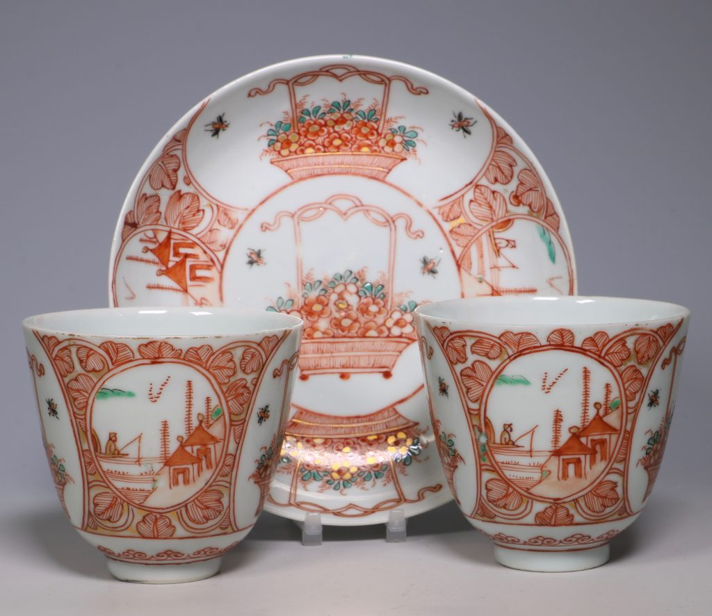 Pair of Dutch Decorated Chinese Beakers and a Saucer 18thC 1