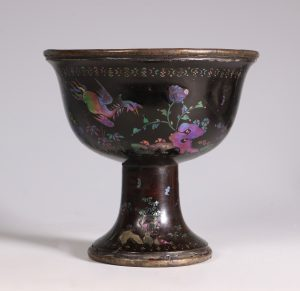 Chinese Mother of Pearl Inlaid Stem Cup Kangxi 17/18thC