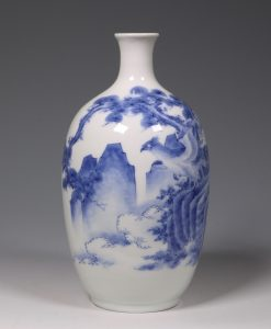 A Hirado Blue and White Vase 19thC