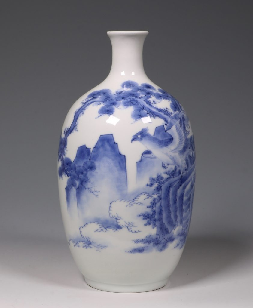 A Hirado Blue and White Vase 19thC