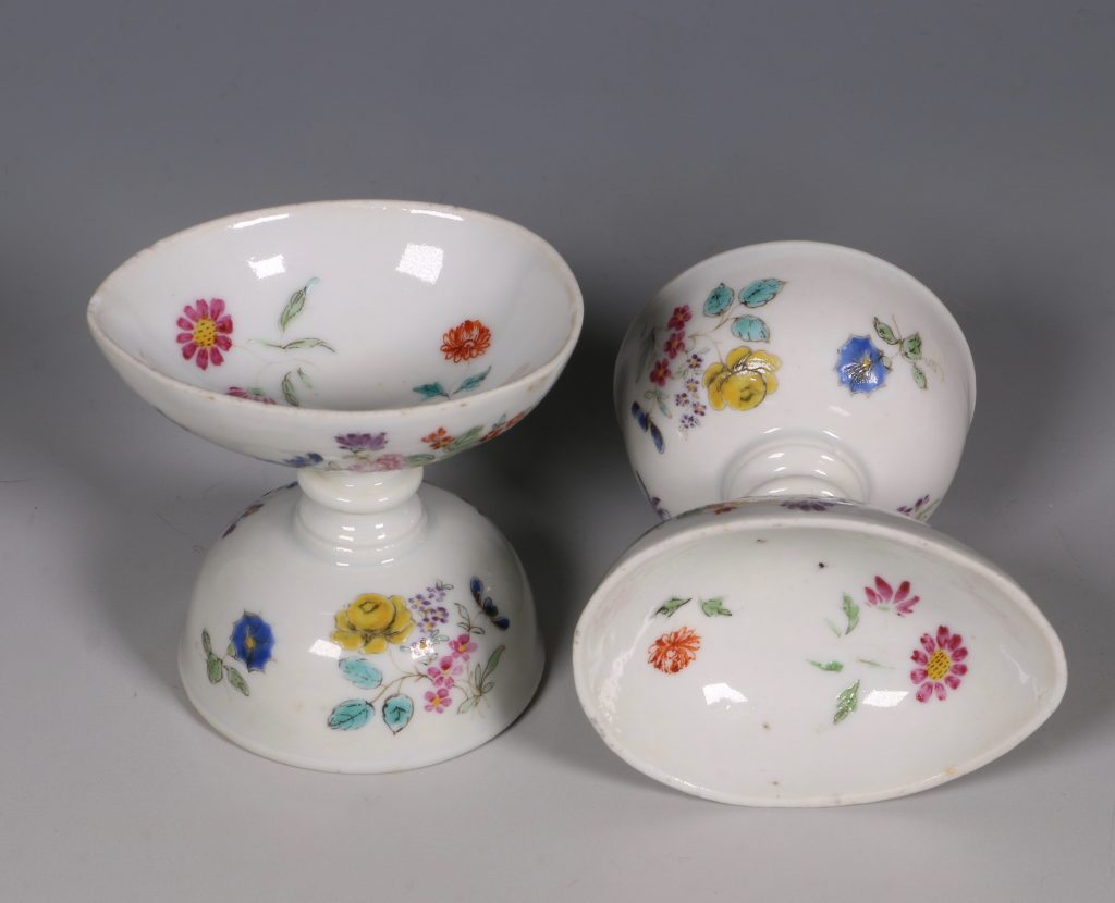 A Pair of Rare Famille Rose Egg Cups Qianlong C1750