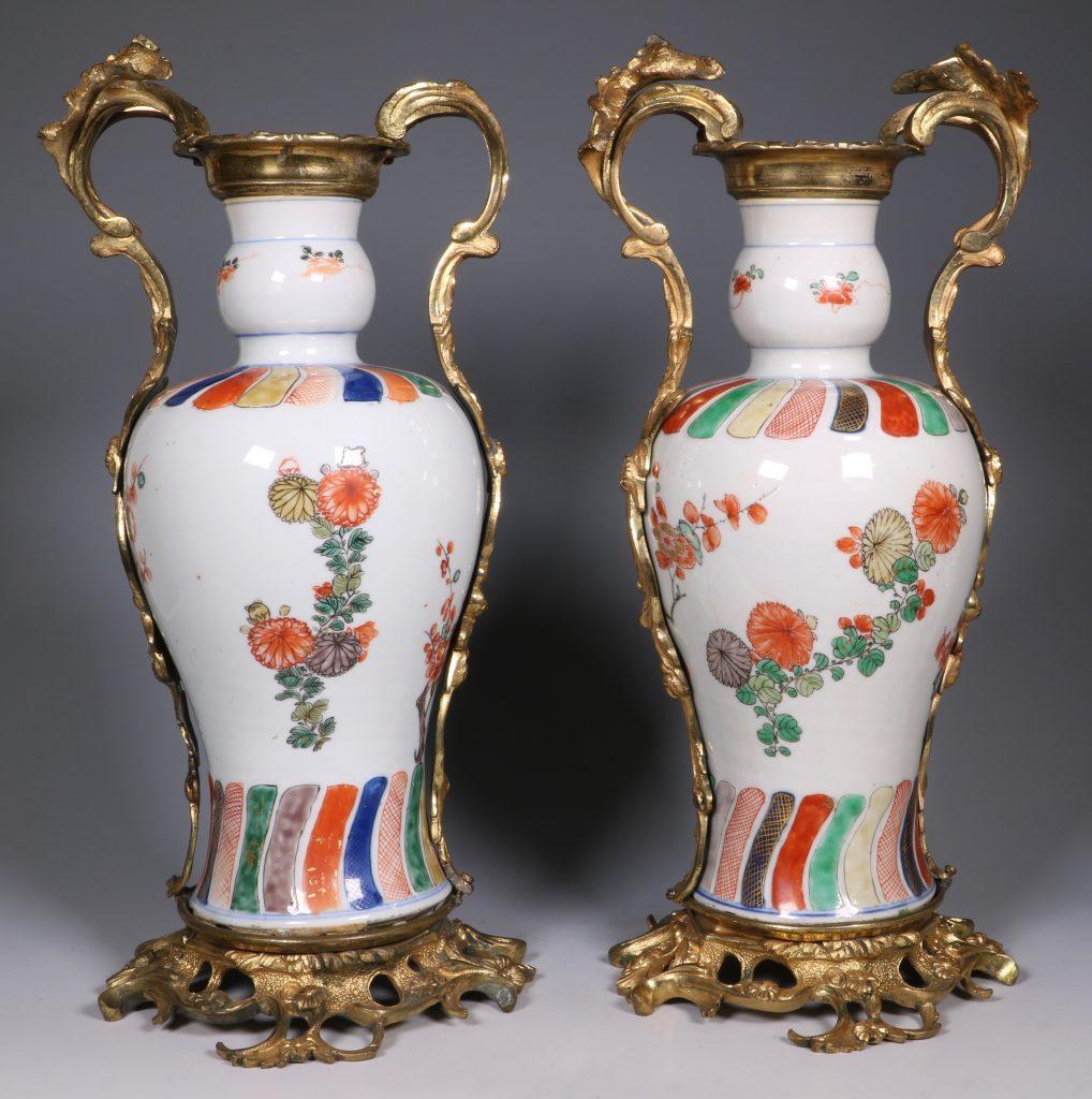 A Pair of Mounted Kangxi Famille Verte Vases