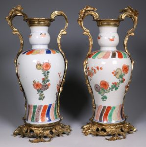 A Pair of Mounted Kangxi Famille Verte Vases