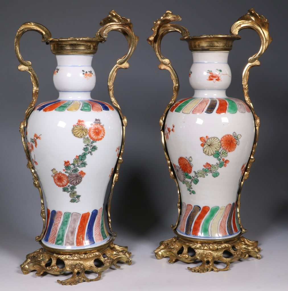 A Pair of Mounted Kangxi Famille Verte Vases 1