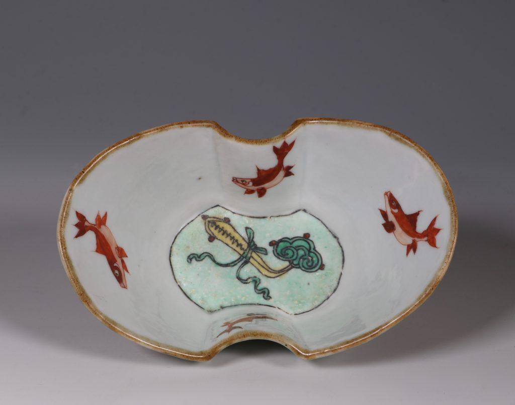 A Famille Verte Ingot Shaped Dish Kangxi 8