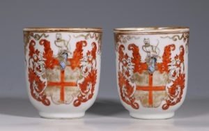 A Pair of Armorial Coffee Cups Qianlong