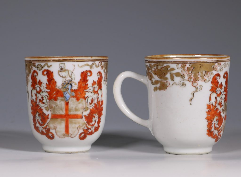 A Pair of Armorial Coffee Cups Qianlong 1