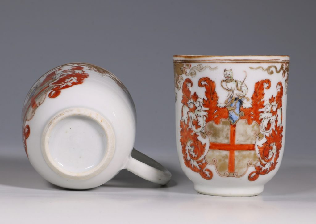 A Pair of Armorial Coffee Cups Qianlong 5