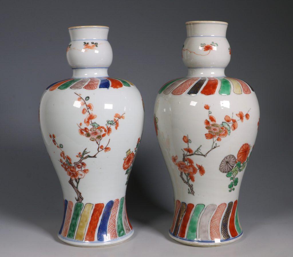 A Pair of Mounted Kangxi Famille Verte Vases 9