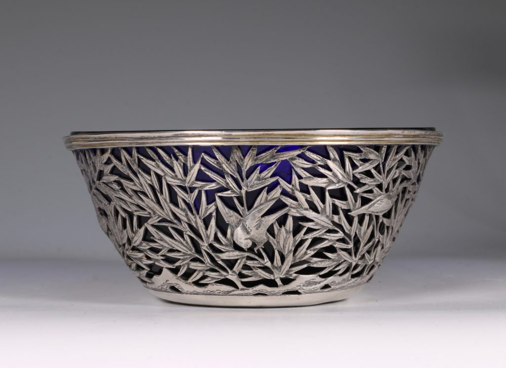 Chinese Open Work-Silver Bowl By Luen Wo C1900