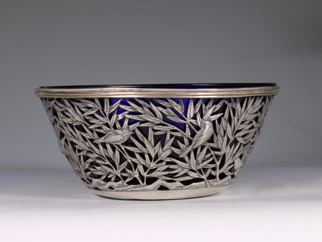 Chinese Open Work-Silver Bowl By Luen Wo C1900 1