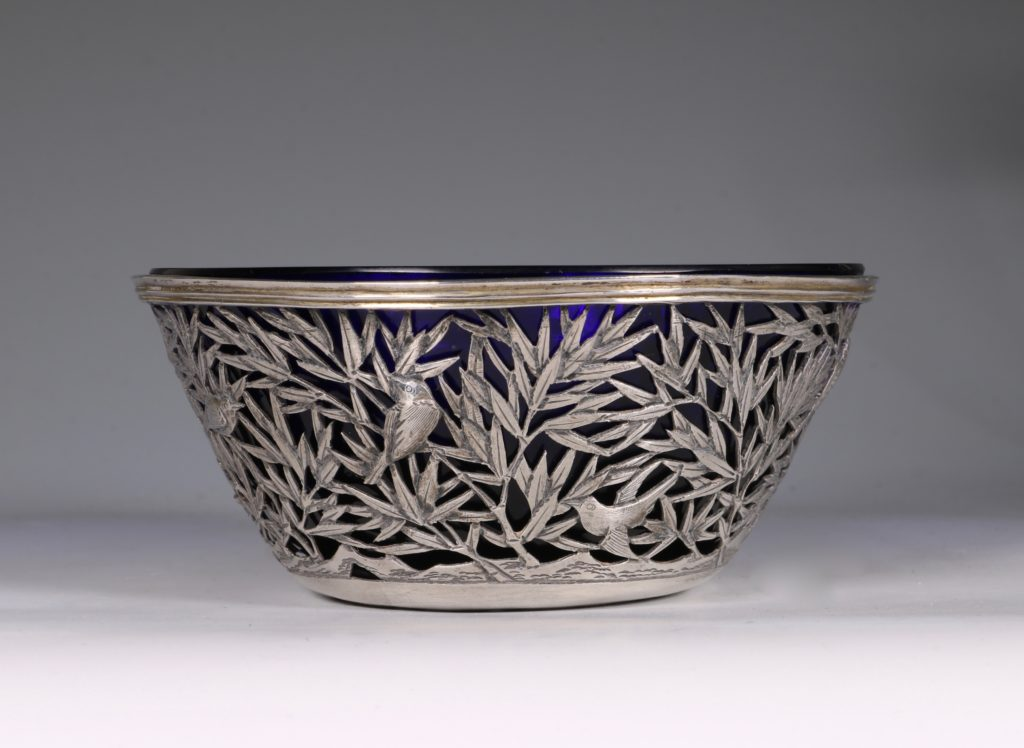 Chinese Open Work-Silver Bowl By Luen Wo C1900 2