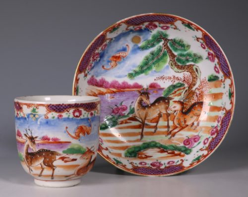 Famille Rose Export Cup and Saucer C1775