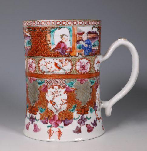 Fine Famille Rose Mandarin Palette Tankard C1775