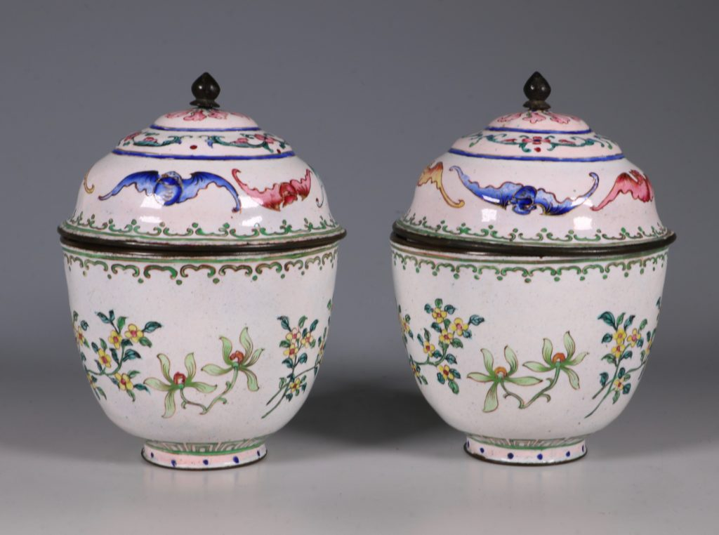 A Pair of Chinese Enamel Covered Cups 19thC 1