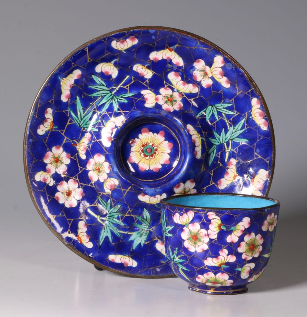 Chinese Canton Enamel Tea Bowl and Saucer E19thC