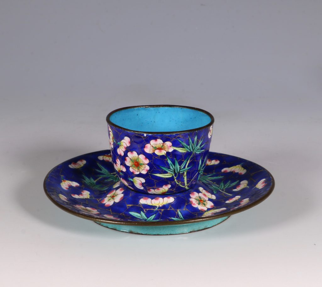 Chinese Canton Enamel Tea Bowl and Saucer E19thC 1